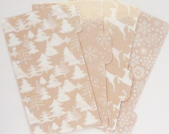 Set of 4 Kraft Winter Personal / A5 / Pocket Planner Dividers