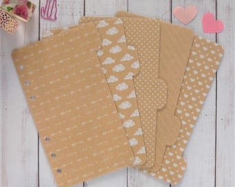 5 Kraft Planner Dividers - Personal / A5 / Pocket Size