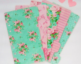 5 Mint and Pink Shabby Chic Floral Planner Dividers for Personal / A5 / Pocket Planner / Filofax Dividers