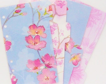 4 Pastel Floral Planner Dividers - Personal / A5 / Pocket Size