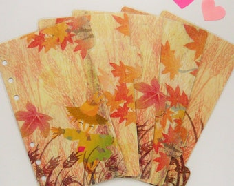 Set of 5 Fall / Autumn Planner Dividers - Personal / A5 / Pocket