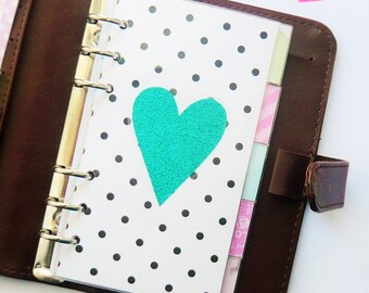 Polka Dot PERSONAL Planner Dashboard with Glitter Heart
