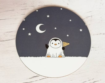 Penguin ghost coaster, little cute penguin, boo, Halloween spooky penguin and stars table mat