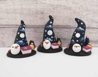 Witch Wizard hat. Miniature pottery witches hat, with owl, spell books, potions and wand. Hand painted moon and stars.