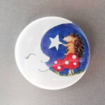 Hedgehog fridge magnet, moon, star and toadstools, cute mushroom kitchen magnet