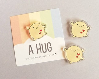 A hug magnet, cute mini positive fridge magnet, tiny, friendship, postable hug and love, supportive, recycled acrylic