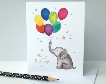 Elephant Birthday Card Happy Cute And Balloon