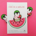 Watermelon penguin soft enamel pin, penguin brooch. You are one in a melon. Positive, cheer up gift