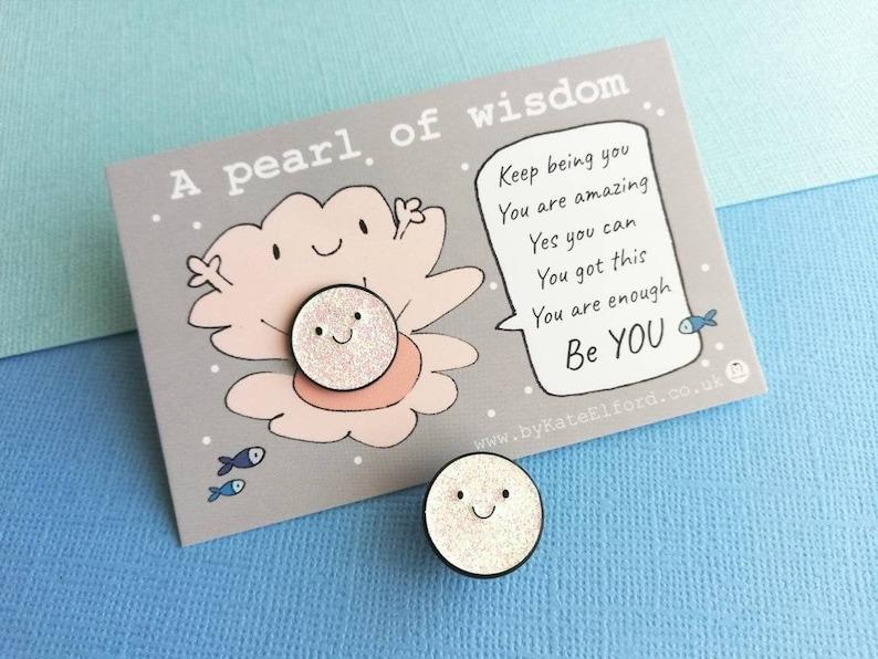 A pearl of wisdom enamel pin cute glitter happy pearl image 0