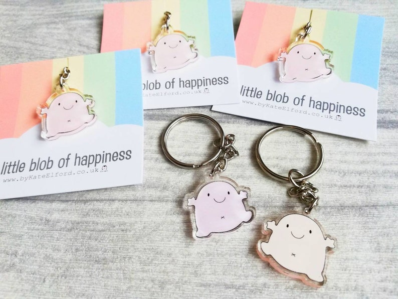 A little blob of happiness keyring cute pink blob positive image 0