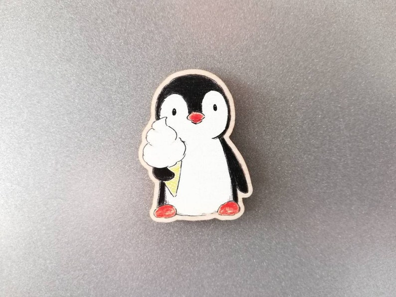 Penguin and ice cream wooden fridge magnet. image 0