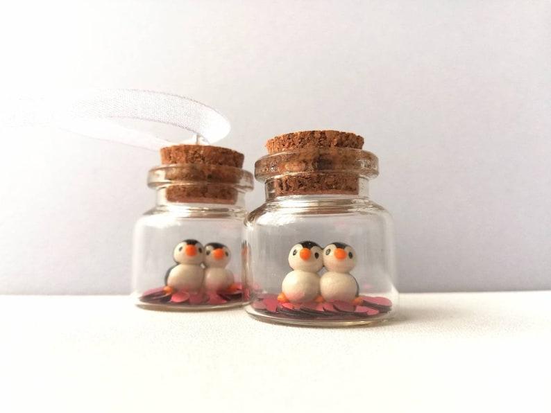 Miniature penguin love birds decoration. Little pottery image 0