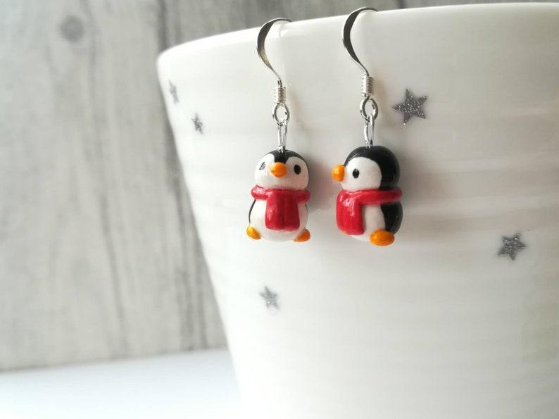 Christmas penguin earrings red scarf penguins sterling image 0