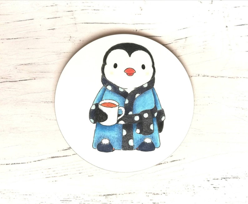 Penguin coaster tea slippers and dressing gown blue image 0