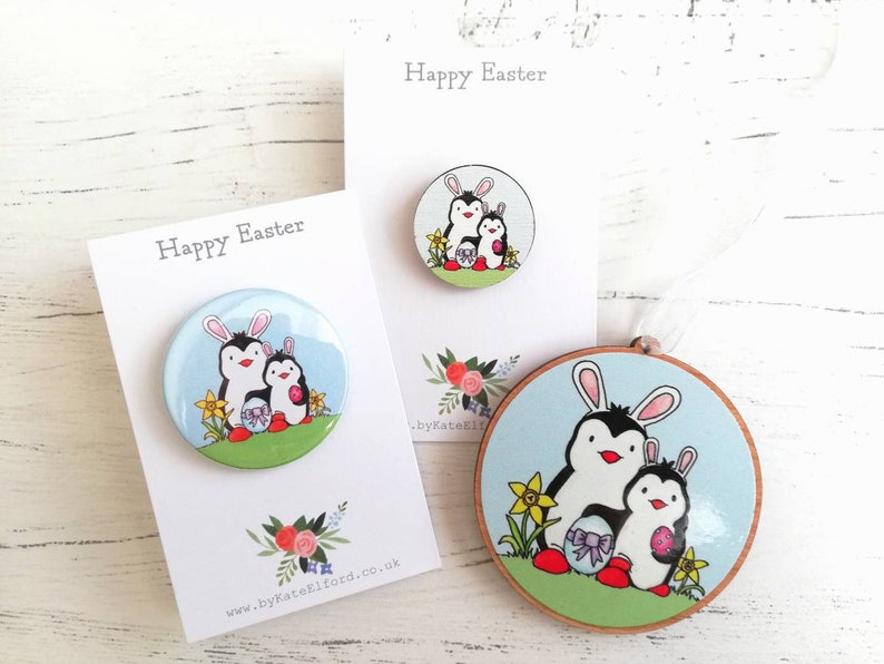 Easter penguins  Easter tree ornament Easter badge and image 0