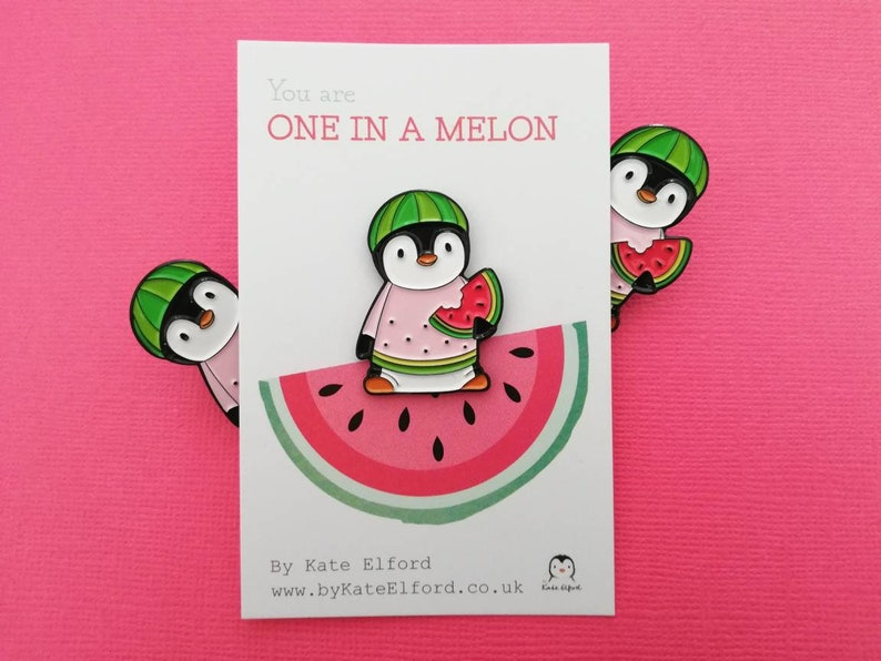 Watermelon penguin soft enamel pin penguin brooch. You are image 0