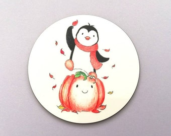 Penguin and pumpkin coaster, penguin, autumn, cute Halloween table mat