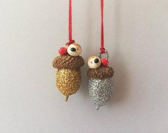 Miniature hedgehog and toadstool acorn ornament. Little autumn, Halloween or Christmas decoration. Gold, silver acorn hedgehog and toadstool