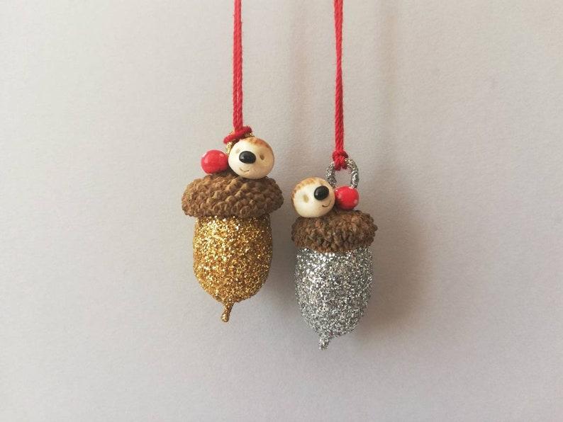 Miniature acorn hedgehog ornament. Little autumn Halloween or image 0