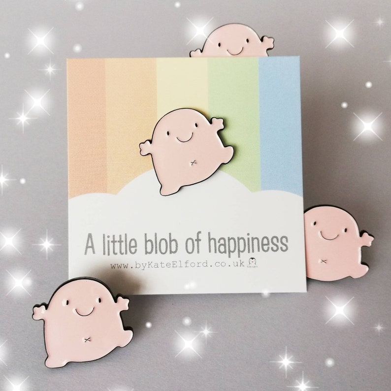 A little blob of happiness enamel pin cute pink blob image 0