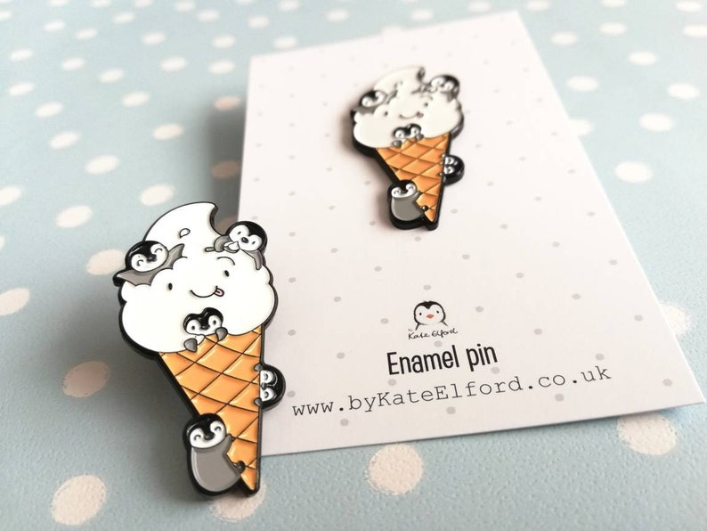Penguins and ice cream enamel pin. Penguin chicks and happy image 0