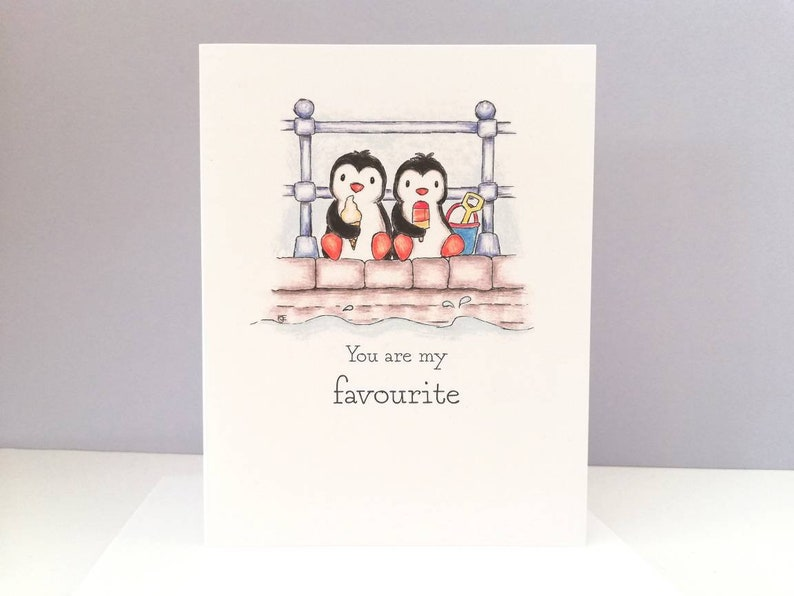 Penguin friend card  You are my favourite  friendship card  image 0