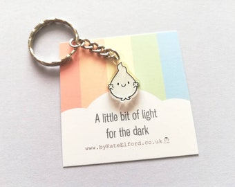 A little bit of light for the dark keyring, cute happy blob, positive key fob, friendship, anxiety, support, care, recycled acrylic