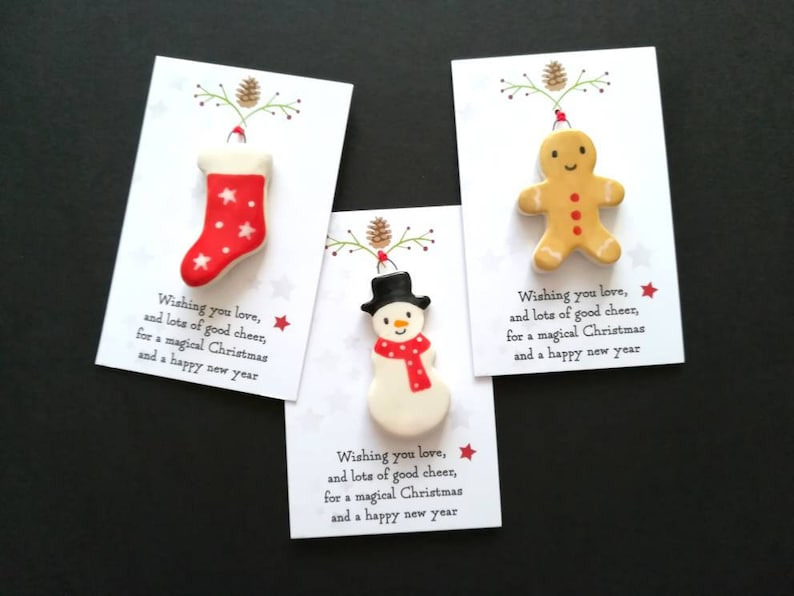Christmas snowman gingerbread man and stocking decorations Set of 3 designs