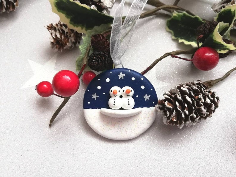 Miniature snowmen decoration. Little pottery snowman navy image 0