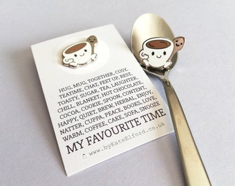 Tea, coffee, and spoon enamel pin, mug brooch, hot chocolate hug badge, friend, happy, friendship hard enamel pins