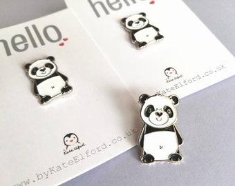 Panda enamel pin, panda bear, love heart brooch. Cute heart nose