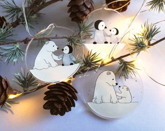 Polar bear and penguin recycled Christmas ornaments, set of three cute decorations, snow Christmas tree hangers