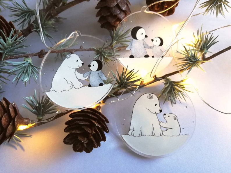 Polar bear and penguin recycled Christmas ornaments set of image 0