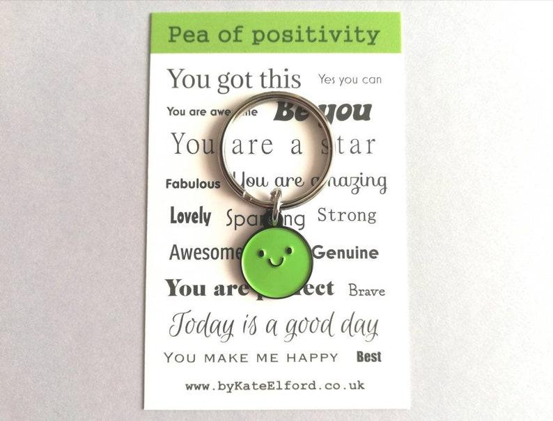 Pea of positivity little enamel keyring positive happy cute image 0