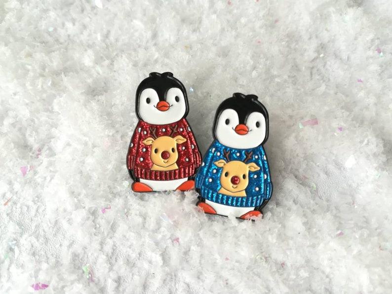 Christmas penguin soft enamel pin penguin brooch Christmas image 0