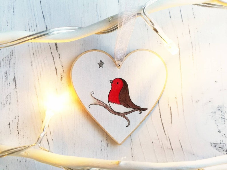 Robin memory heart. With you. Little robin ornament with a image 0