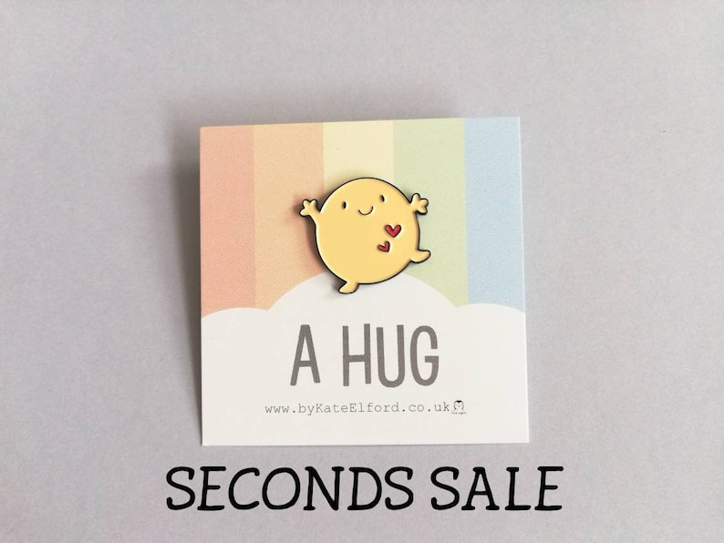 Seconds A hug enamel pin cute positive enamel brooch image 0
