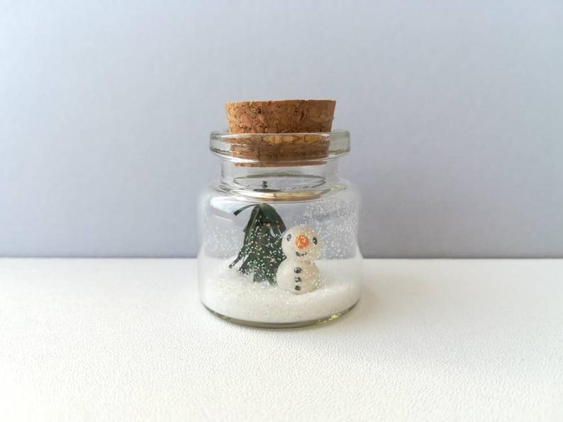Miniature snowman Christmas decoration. Little pottery snowman image 0
