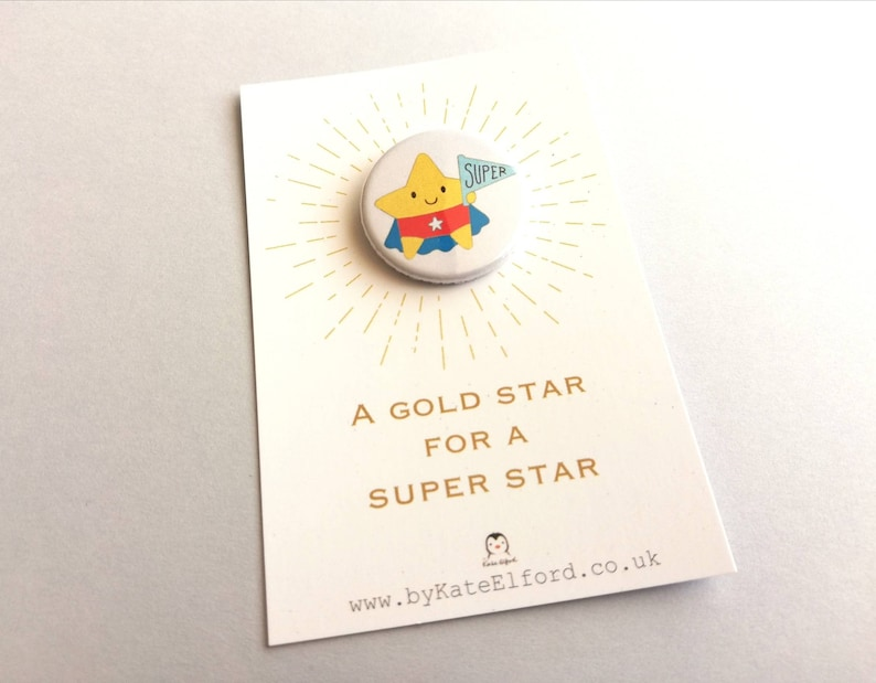 Gold star small button badge super star thank you well image 0