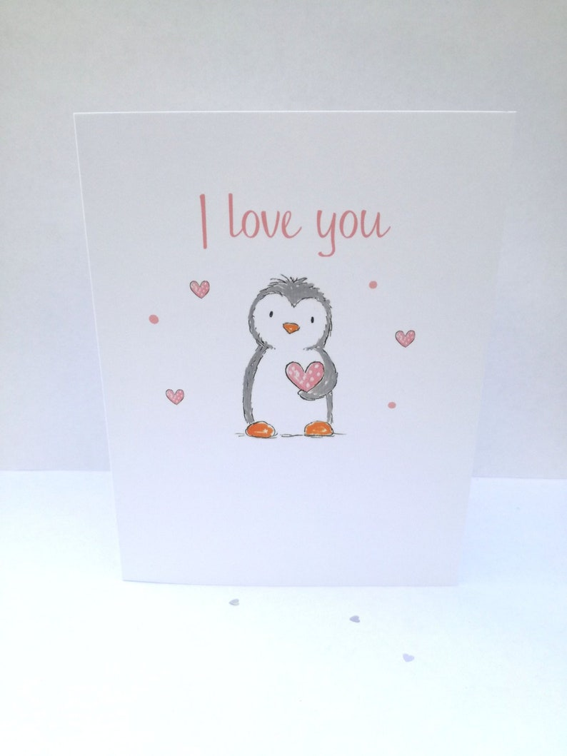 Penguin valentine card cute penguin picture I love you image 0
