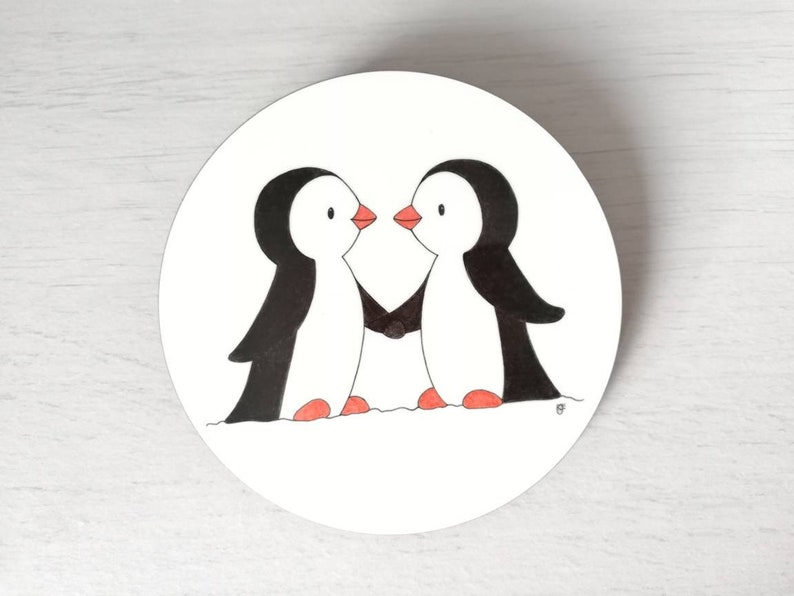 Penguin coaster friendship gift best friend engagement image 0
