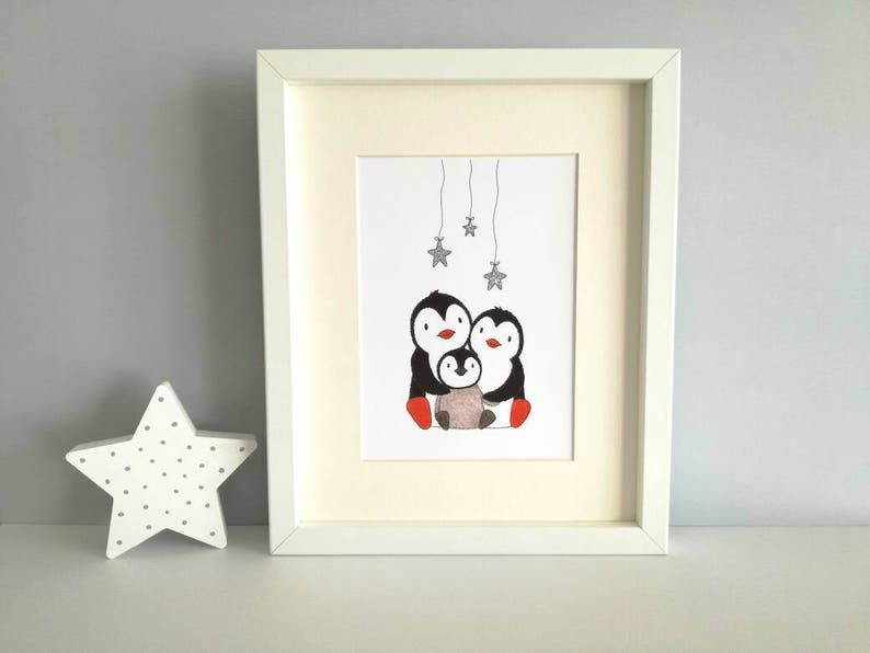 Wish upon a star unframed penguin print nursery or playroom image 0