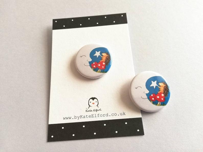 Mini hedgehog and moon badge hedgehog and star mushroom image 0