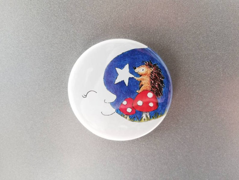 Hedgehog fridge magnet moon star and toadstools cute image 0