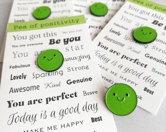 Pea of positivity enamel pin, cute green pea, positive enamel brooch, friendship, supportive enamel badges