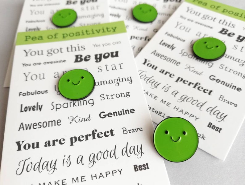 Pea of positivity enamel pin cute green pea positive enamel image 0