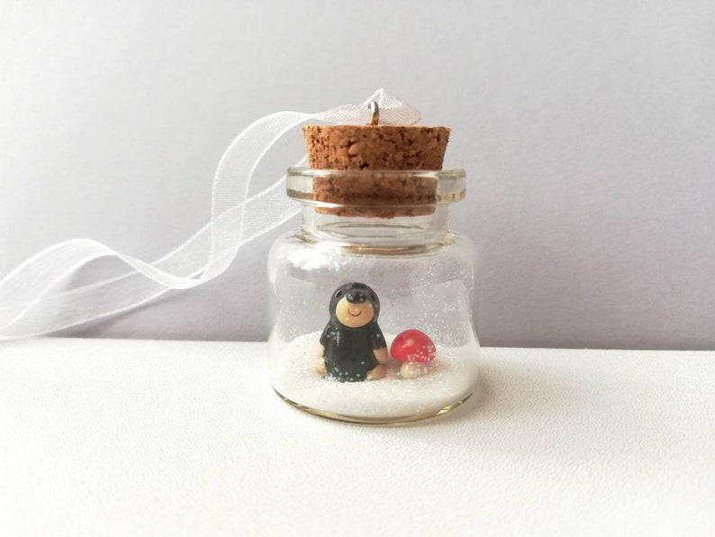 Miniature mole and red toadstool Christmas ornament. Little With hook and ribbon