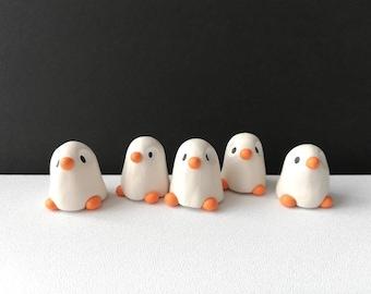 Ghost penguin. Little Halloween penguin, miniature pottery penguin, ceramic quirky penguin gift