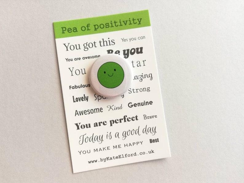 Pea of positivity small button badge mini happy positive image 0