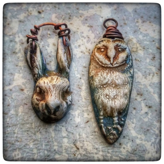 Rabbit charms, owl charms, polymer clay earring charms, wire wrapped jewelry, earring pair